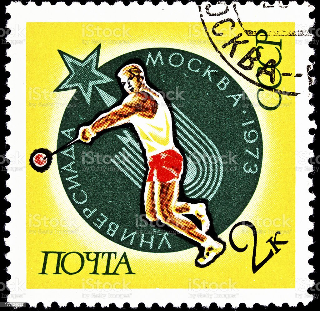 Soviet Russian Man Throwing the Hammer Throw royalty-free stock photo