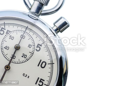 Soviet Russian USSR mechanical 2-button stopwatch, isolated on white background. Stopwatch designed to measure time in minutes, seconds and fractions of a second, used in sport competition and timing