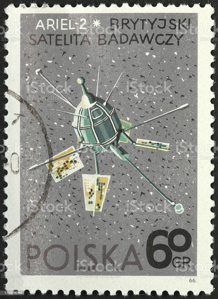 Soviet satellite 1960s on Polish stamp royalty-free stock photo