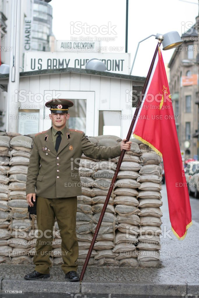 Soviet Soldier At Checkpoint Charlie royalty-free stock photo
