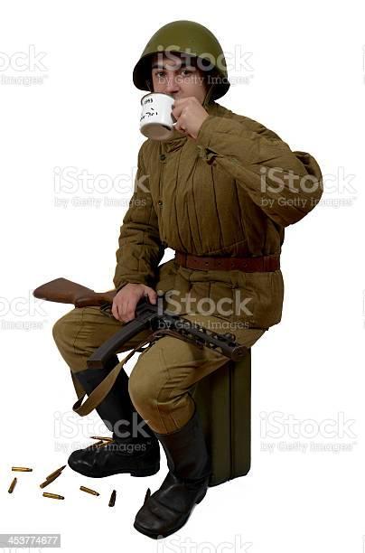 soviet soldier drink a tea