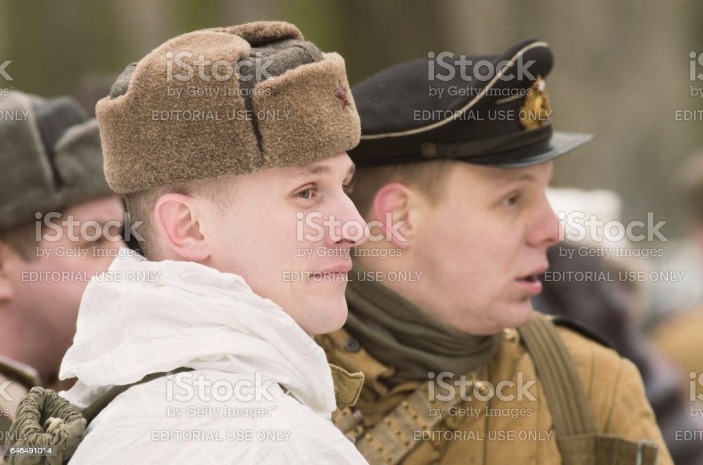 Soviet soldiers awaiting battle formations. stock photo