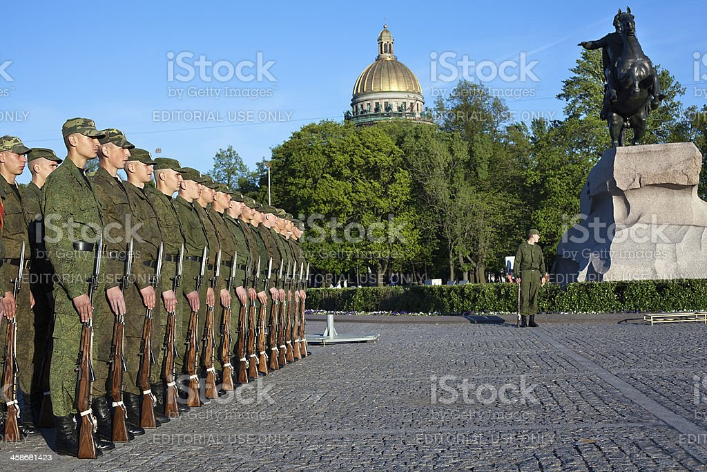 Soviet soldiers in the line royalty-free stock photo