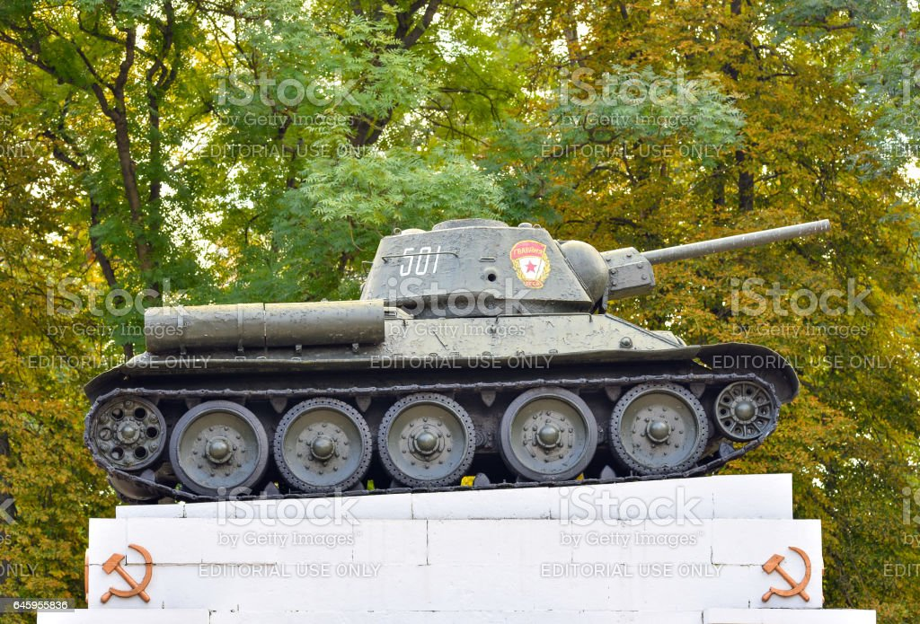 Soviet tank from the second war stock photo