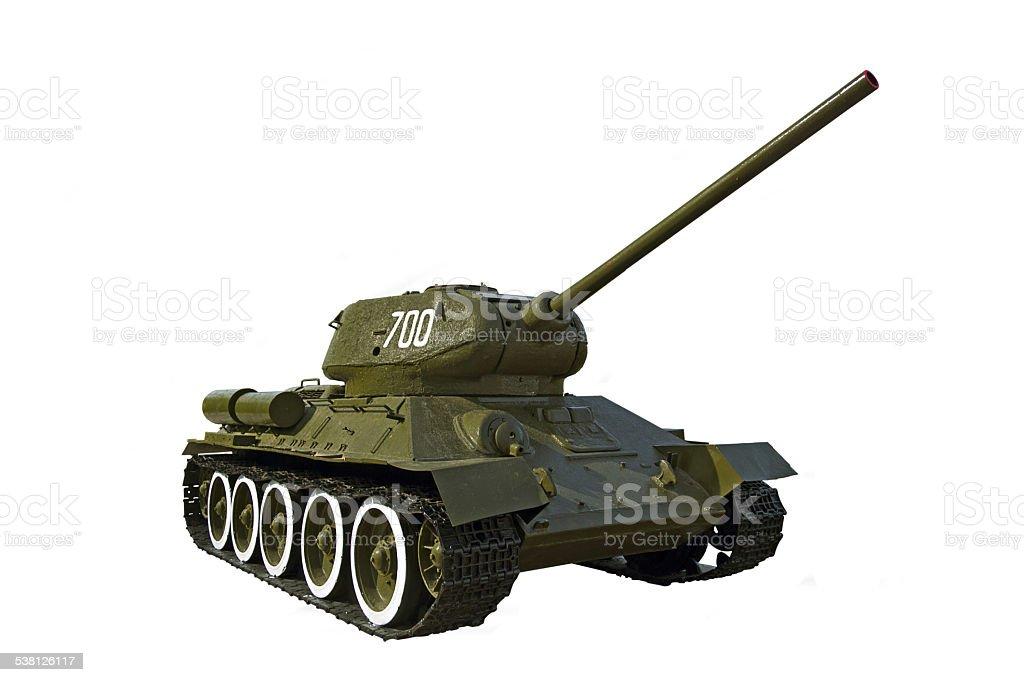 Soviet tank T-34 isolated on white stock photo