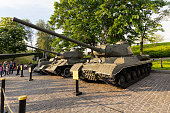 Kiev, Ukraine - May 09, 2016: Soviet tanks an exhibit of the museum of the History of Ukraine in the Second World War