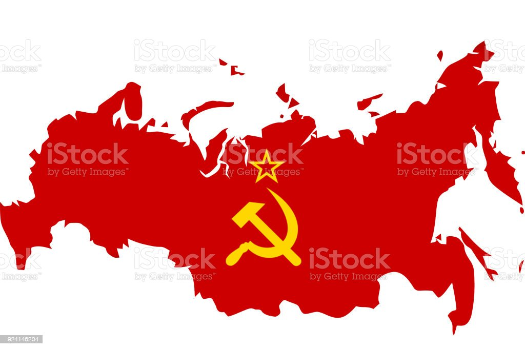 Soviet Union flag with map stock photo