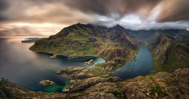 Loch na Cuilce Loch na Cuilce and Loch Coruisk with Black Cuillins in background, Isle of Skye, Scotland isle of skye stock pictures, royalty-free photos & images