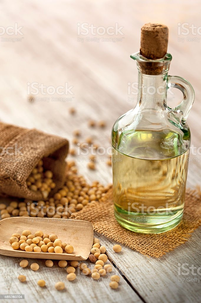 Soy bean and soy oil stock photo