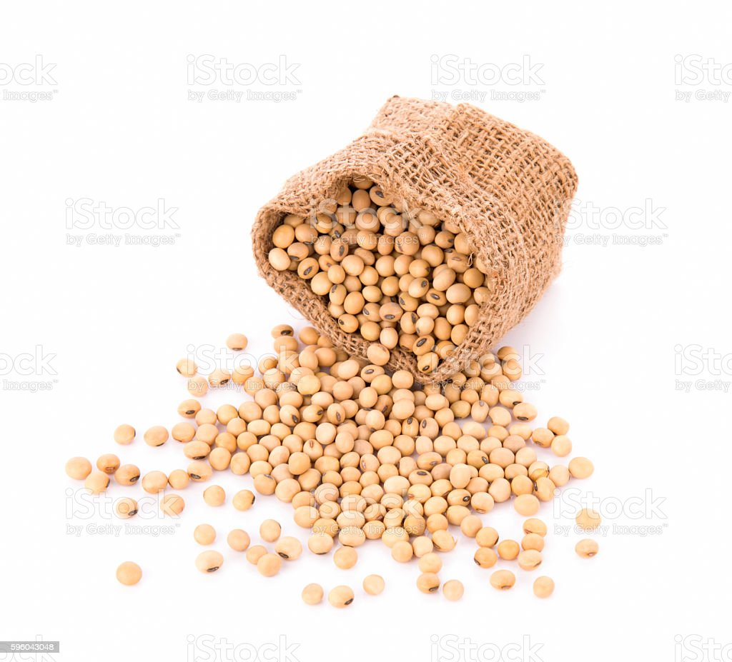 Soy beans in sack on white background royalty-free stock photo