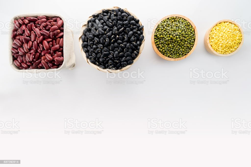 Soy beans, Red beans, black eyed peas and green beans stock photo