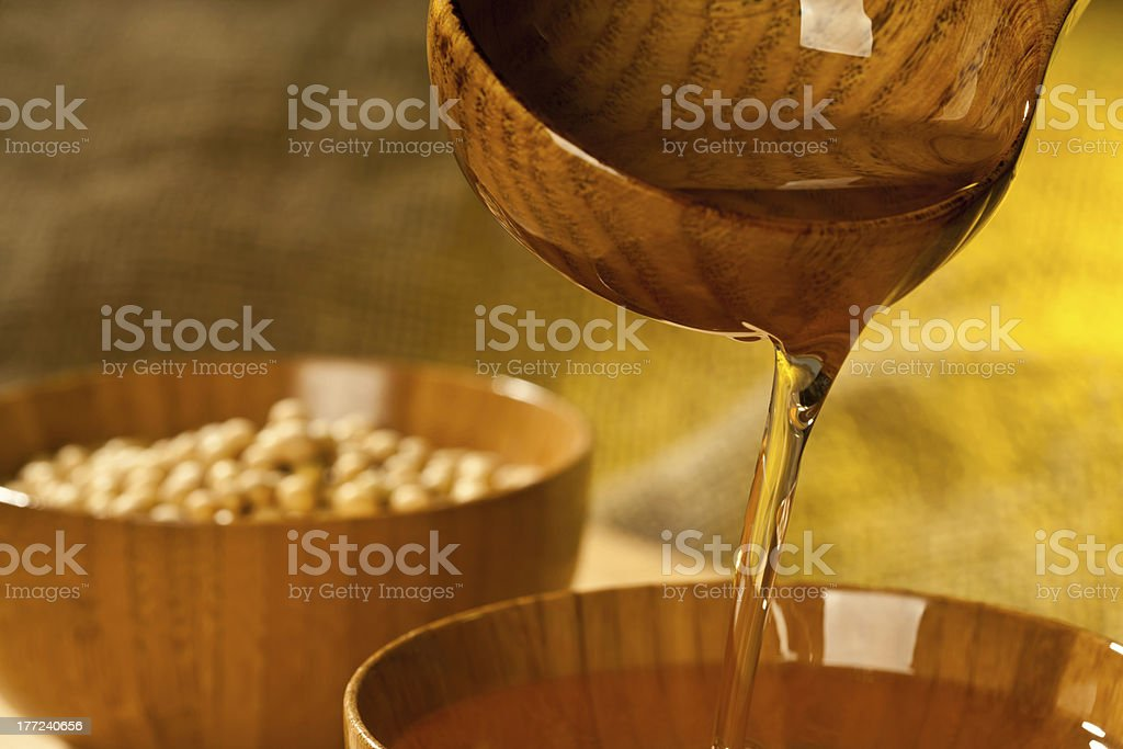 Soy is manufacturing into oil stock photo