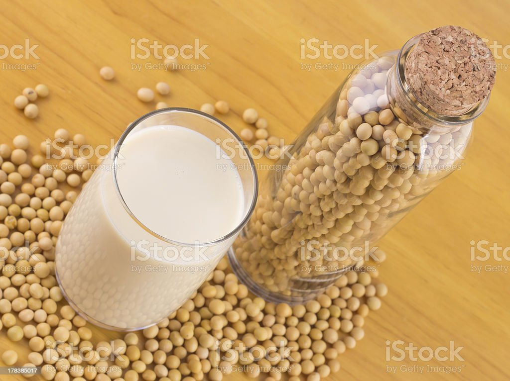 Soy milk and beans royalty-free stock photo