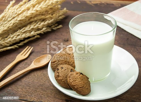 887350996 istock photo Soy milk and Chocolate chip cookies on wood table background. 483393462