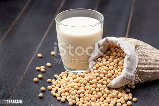 887350996 istock photo soy milk and soybean on dark wooden background 1171638328
