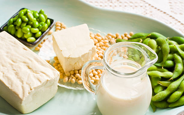 Soy Milk and Soybean Products Arranged On An Aqua Tray stock photo