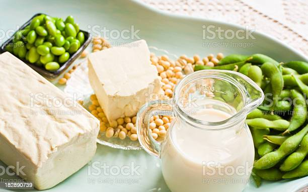 Soy Milk And Soybean Products Arranged On An Aqua Tray Stock Photo - Download Image Now