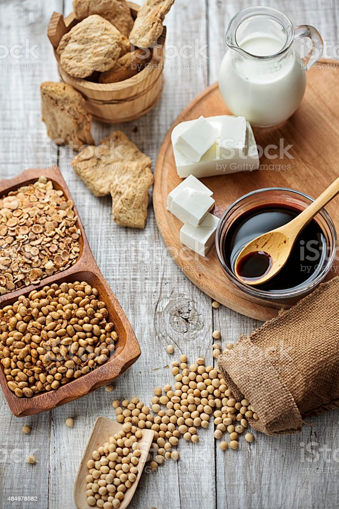 Soy Milk and Soybean Products Arranged On An wooden table stock photo
