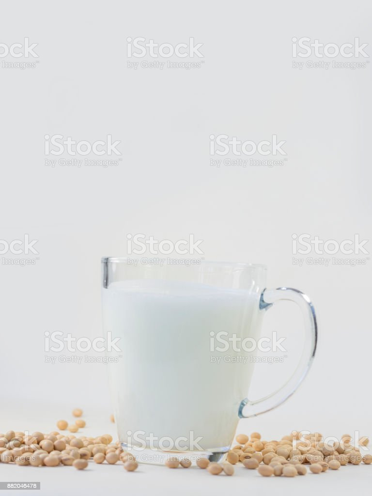 Soy milk and soybeans stock photo
