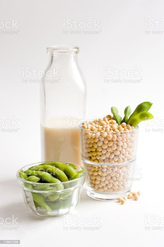Soy Milk Concept With Glass Filled Full of Loose Soybeans royalty-free stock photo