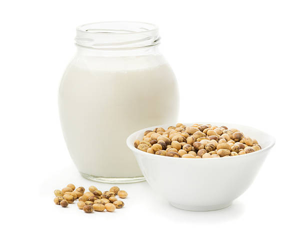 Soy milk in a glass jar stock photo