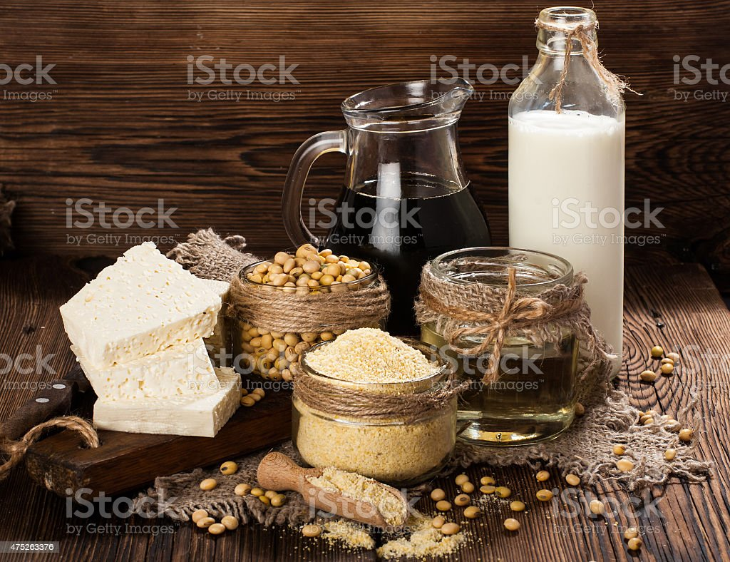 Soy products: soy flour, tofu, soy milk, soy sauce stock photo