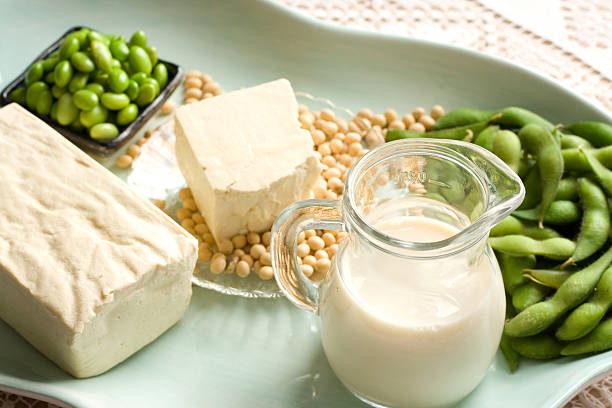 Soy Products with soybean pods, tofu, milk on serving dish stock photo