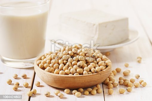 istock soy products with soybean, soymilk and tofu 1064424802