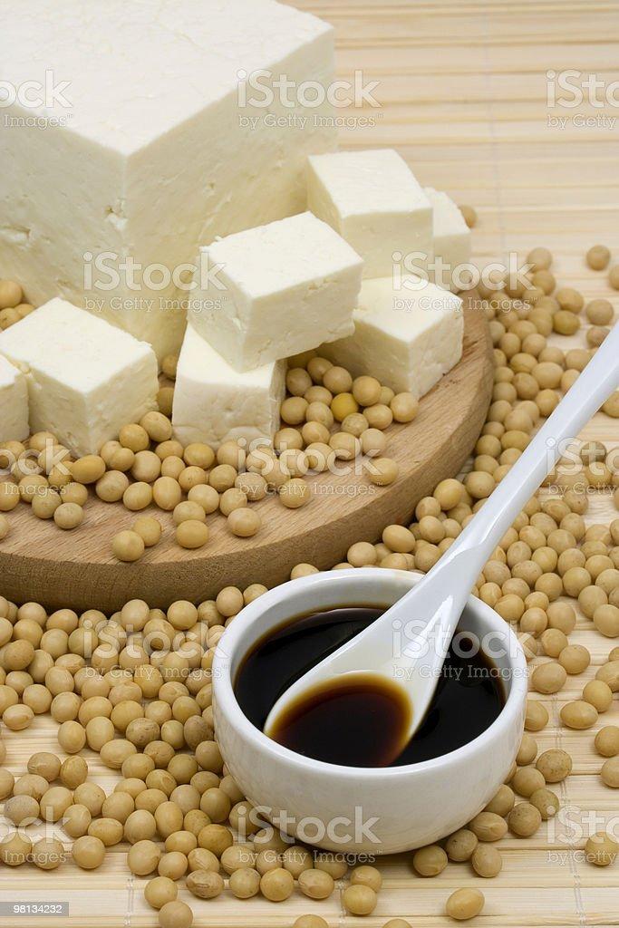 Salsa di soia e tofu foto stock royalty-free