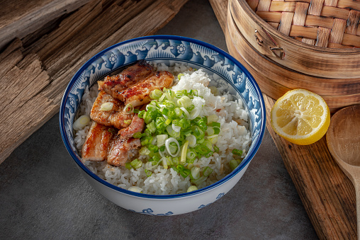 Soy Sauce Braised Pork Belly Donbury Stock Photo - Download Image Now