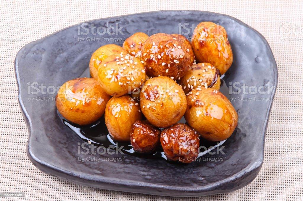 Soy Sauce Braised Potatoes stock photo