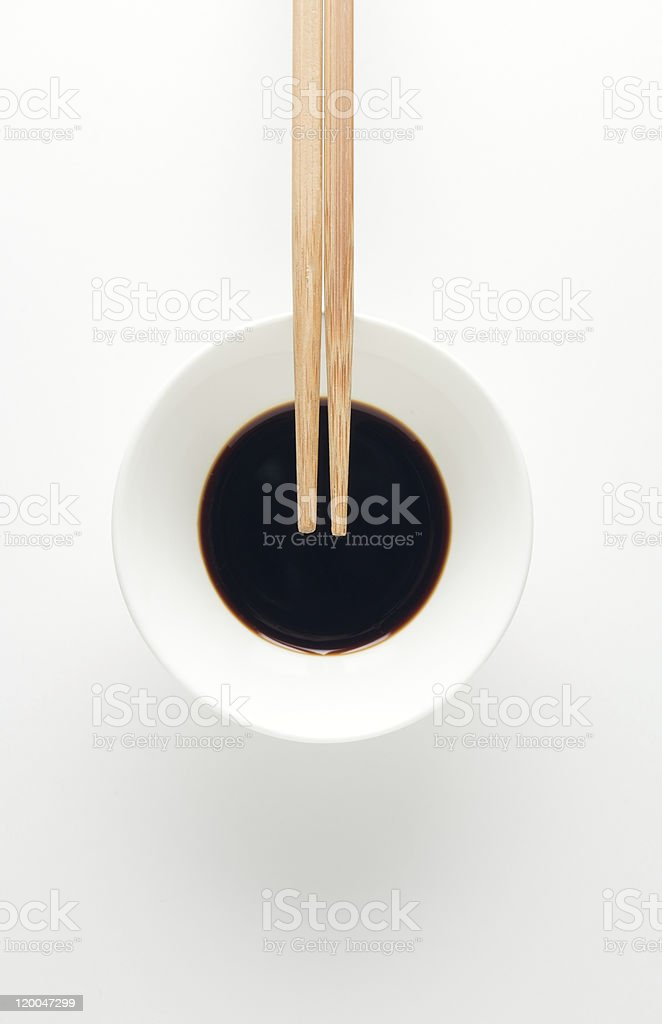soy sauce dish and chopsticks stock photo