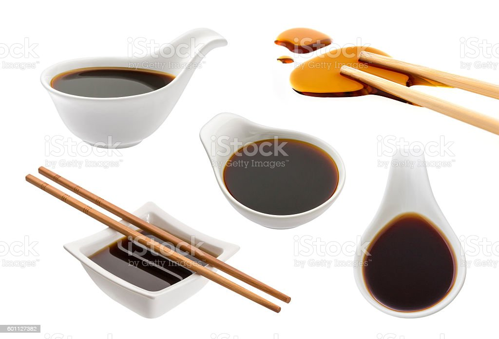 Soy sauce isolated on white stock photo