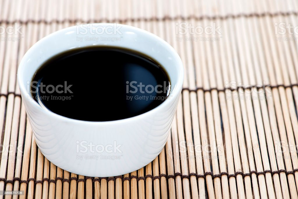 Soy Sauce (in a bowl) stock photo