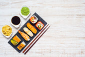 Soy Sauce, Wasabi and Ginger. Japanese Food on Copy Space