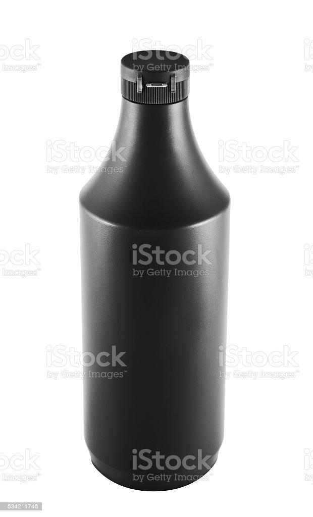 Soy souce platic bottle over white background stock photo