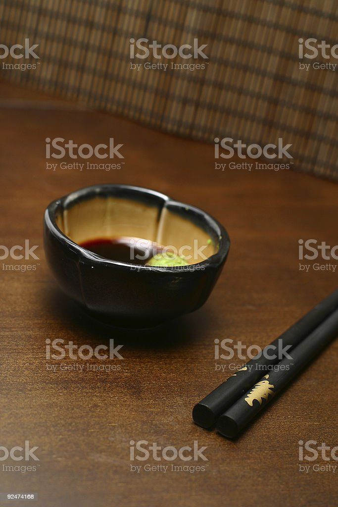 soy souce with wasabi royalty-free stock photo