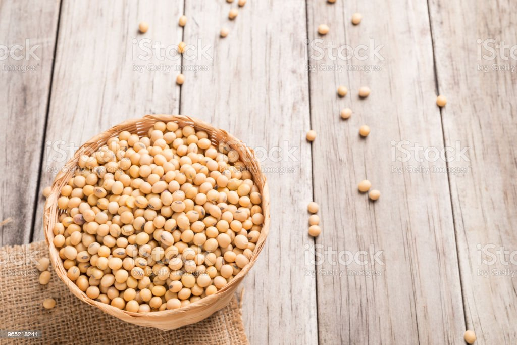 Soybean In Basket On Wood Stock Photo & More Pictures of Agriculture