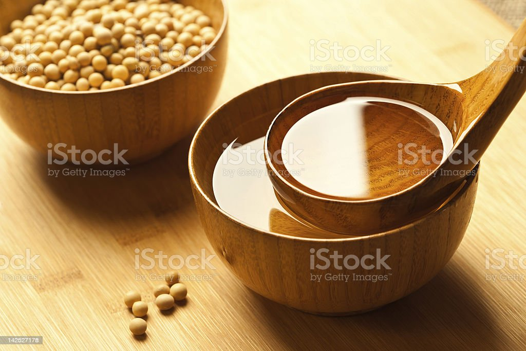 Soybean oil and raw materials stock photo