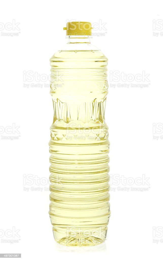 Soybean oil in plastic bottle isolated on white stock photo