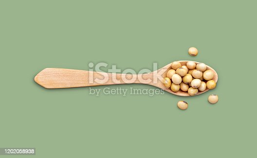 Soybeans in a wooden spoon on green colour backgroud with copy space for your text or image.