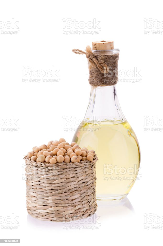 soybeans in basket  and oil isolated on white background stock photo
