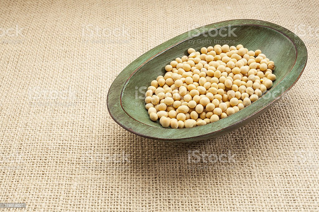 soybeans in rustic bowl royalty-free stock photo