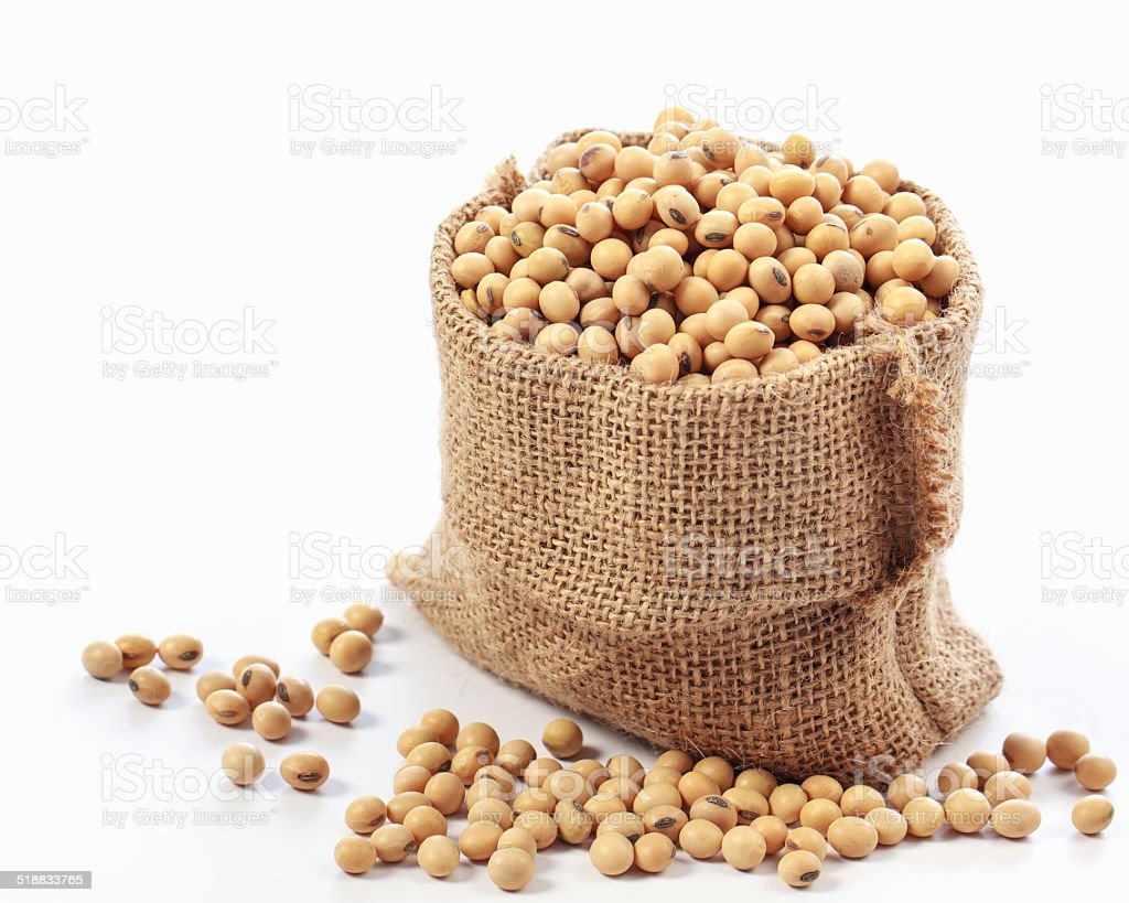 Soybeans in wooden ladles on white background. stock photo