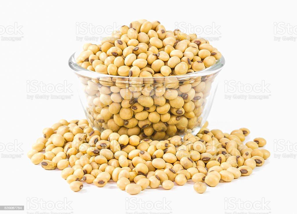 Soybeans on white background stock photo