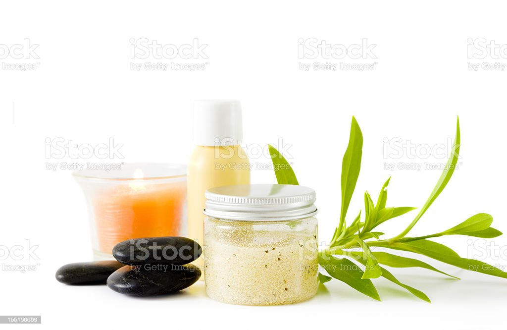 Spa accoutrements on a white background royalty-free stock photo