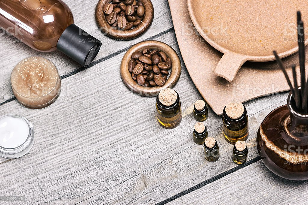 Spa and aromatherapy cosmetics and accessories stock photo