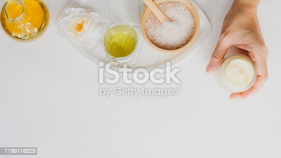 1151624350istockphoto spa and skin care product with luxury natural ingredient . Himalaya pink salt and natural massage essential oil. 1199116325