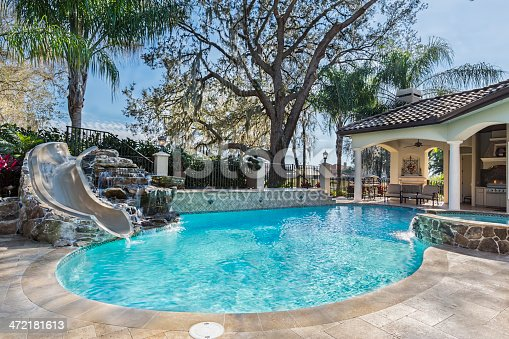 spa and swimming pool with slide plus waterfall stock photo istock - Swimming Pools With Waterfalls And Slide