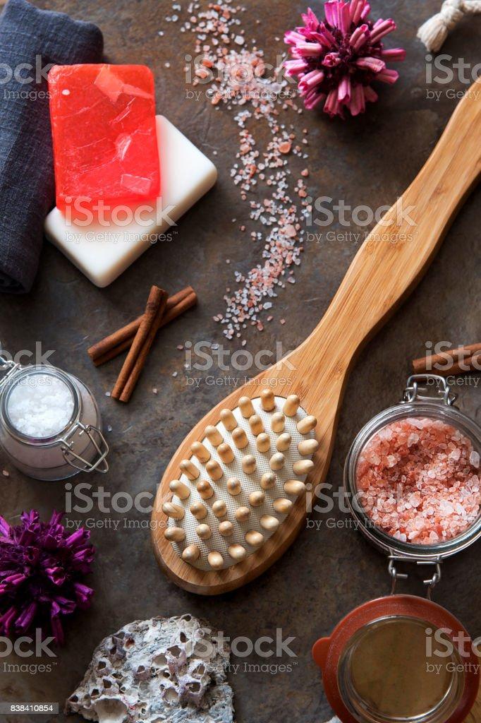 Spa and Wellness - Bath brush, Towel, Sea salt and Homemade soap stock photo